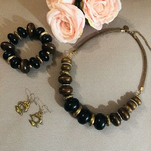 3 pieces Statement Beaded Black and Brown Necklace